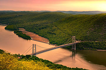 View of Hudson Valley bridge from above