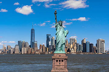 New York City skyline with Statue of Liberty
